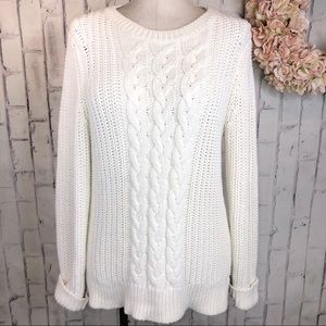 Nautical Ivory cable knit crew neck sweater large